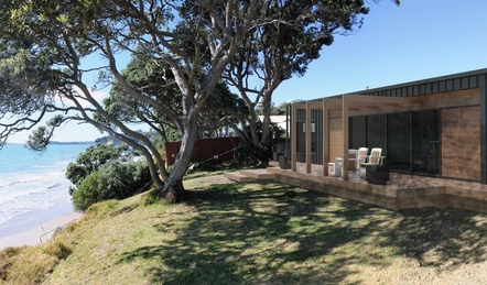 Elevate prefab transportable home on the beach front, north island NZ