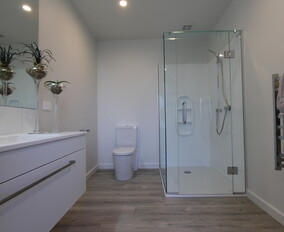 Modern white bathroom with laminate wood flooring